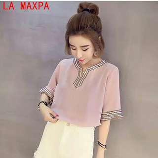 New Summer Embroidery Shirts Vintage Ethnic Trend Top Women Shirt Chiffon Large Size