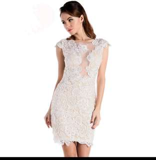 Lace sexy white beige dress size XS- L mini dress