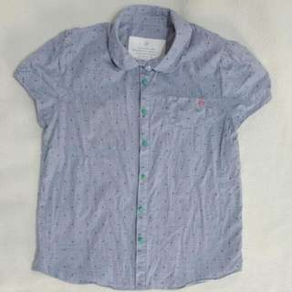 🚚 a la sha 藍格紋短袖襯衫