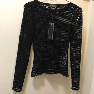 Black Vicki mesh long sleeve top - fish net style