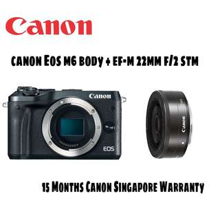 Canon EOS M6 Mirrorless Digital Camera with EF-M 22mm STM Lens