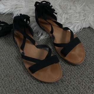 Black Wrap Sandals