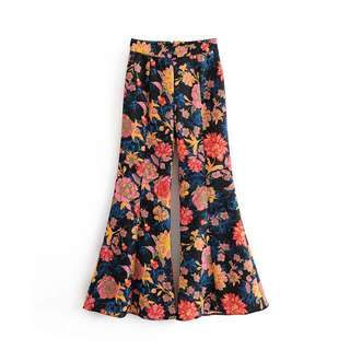 Europe and the United States high waist flower print casual flared pants