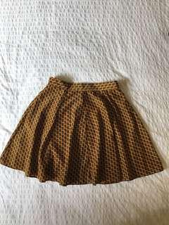 Satin A-line printed skirt