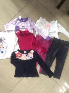 Long sleeves and leggings bundle for 2 years old - 5 tops 2 bottoms
