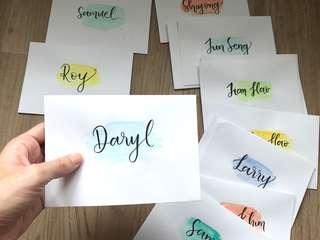 Watercolor calligraphy envelopes