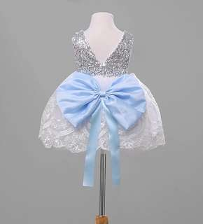 ⭐️Instock⭐️ Silver Sequins Blue Bow Dress