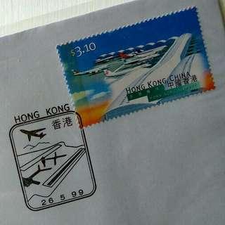 為紀念香港國際機場第二跑道啟用而發行的正式 紀念封