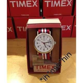 Timex T2N746 Style Weekender Three Tone Watch 紅藍白