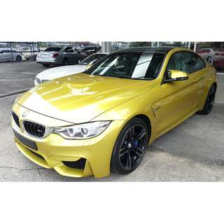 BMW M4 3.0 TWIN TURBO HARMAN KARDON AUDIO (A) OFFER UNREG 2015 RARE COLOUR YELLOW AUSTIN