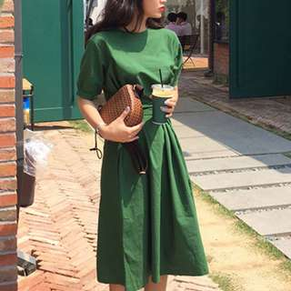 Bubble Sleeves Midi Dress Ulzzang