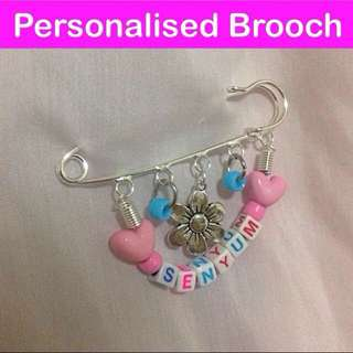 Personalised Brooch / Pin (put the name / wording you want, yah, & choose the charms, too) [makes a nice gift handmade uncle.anthony uncle anthony uac 2bump]