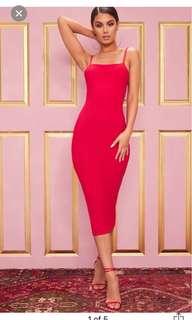 PLT Red Strappy Midi Dress