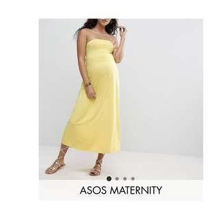 Asos maternity yellow strapless dress UK 10