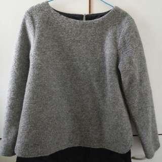 灰色絨毛長袖衫