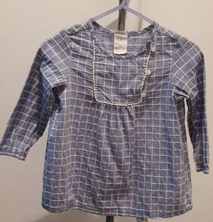 H&M long-sleeved checkered top