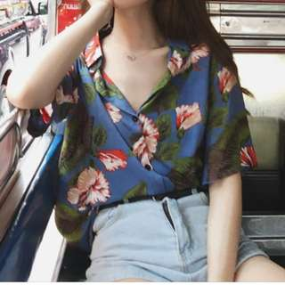 Oversized Printed Short Sleeves Summer Blouse Ulzzang