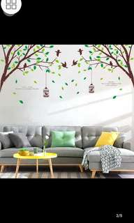 🎉New Arrival 2 in 1 Large Size Living room sofa warm TV background wall stickers forest bird romance wedding room bedroom wall decoration stickers diy home decor