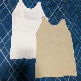 Knitted Top (beige and white)