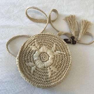 Round Rattan Straw Crossbody Bag