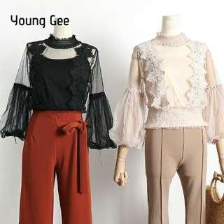 Spring Vintage Lace Floral Shirts High Collar Women Blouse Elegant Loose Cute Lantern Sleeve