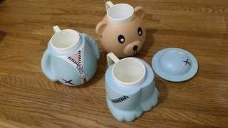 Kids Teddy bear mug set