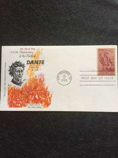 US 1965 Dante FDC stamp Official Italian Historical Society Cachet