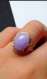 🌹18K Gold - Grade A 冰糯 Lavender Cabochon Jadeite Jade Ring🌹