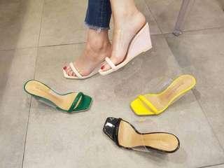 🚚 (B63) 【方面❌透明造型楔型鞋】
