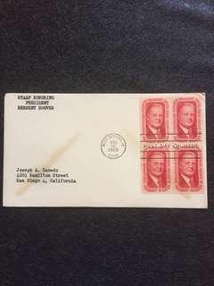 US 1965 Herbert Hoover Blk4 FDC stamp