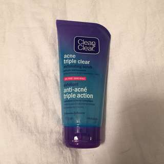 Clean and Clear Triple Clean Acne Face Wash Scrub