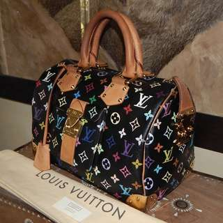LOUIS VUITTON mono black multicolore speedy bag