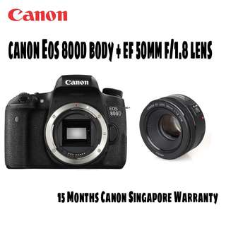 Canon EOS 800D DSLR Camera with Canon EF 50mm f/1.8 STM Lens
