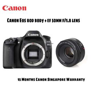 Canon EOS 80D DSLR Camera with 50mm f/1.8 STM Lens