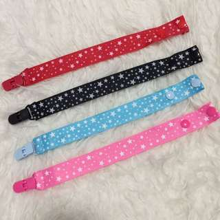 Brand new handmade with grosgain straps Pacifier clips in classic stars designs for baby toddler children newborn affordable budget children items gift
