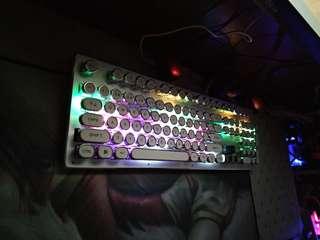 青軸 機械鍵盤 復古打字機圓鍵 RGB七彩燈效 gaming keyboard