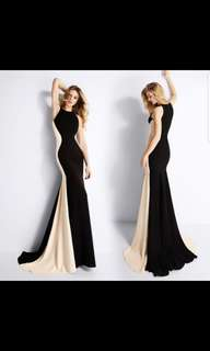 Dual tone black long dress / evening dress instock