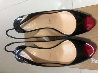 Authentic Christian Louboutin Sling Back Heels Black Patent