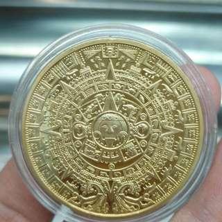 古文化瑪雅族---圖騰鍍金紀念章