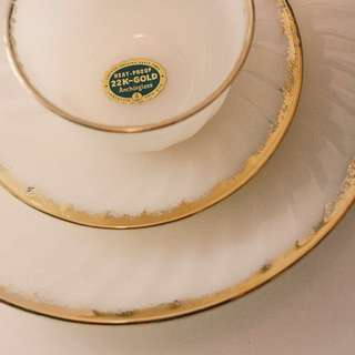 Fire King Gold Gilt Rim Swirl Set