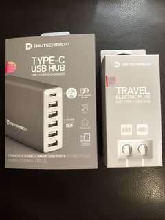 Type-C / USB Hub 10A Power Charger & Travel Electric Plug