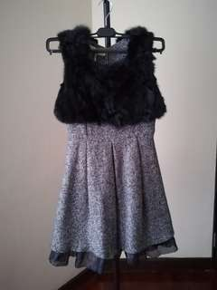 Elegant Evening Short Dress Black Fur Grey Lace imported Korea brand new