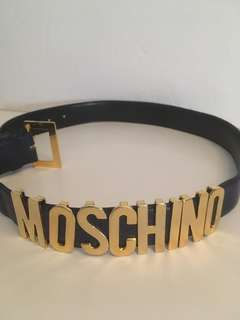 Authentic vintage Moschino navy blue leather belt