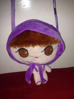 purple hoodie girl body bag