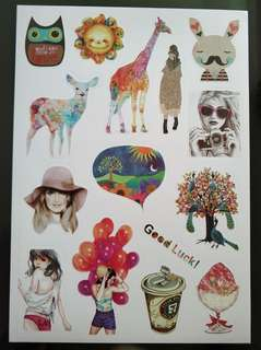 Painted art stickers beautiful colorful