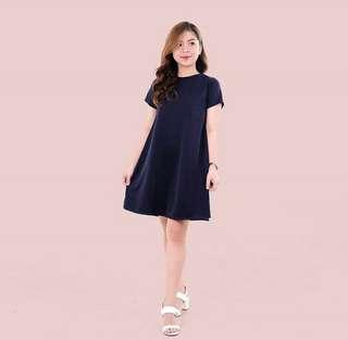 HTP Clothing - Navy Blue A-line Dress