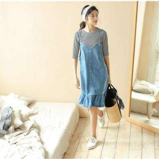 Denim Ruffle Hem Overall Dress 099330 FM