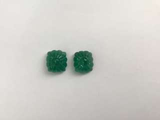 Exclusive Emerald No Heat Square Carving Cabs Pair