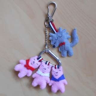 Three little pigs and not so big wolf with lobster clasp