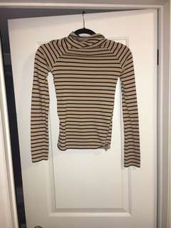 F21 Stripped Turtle Neck